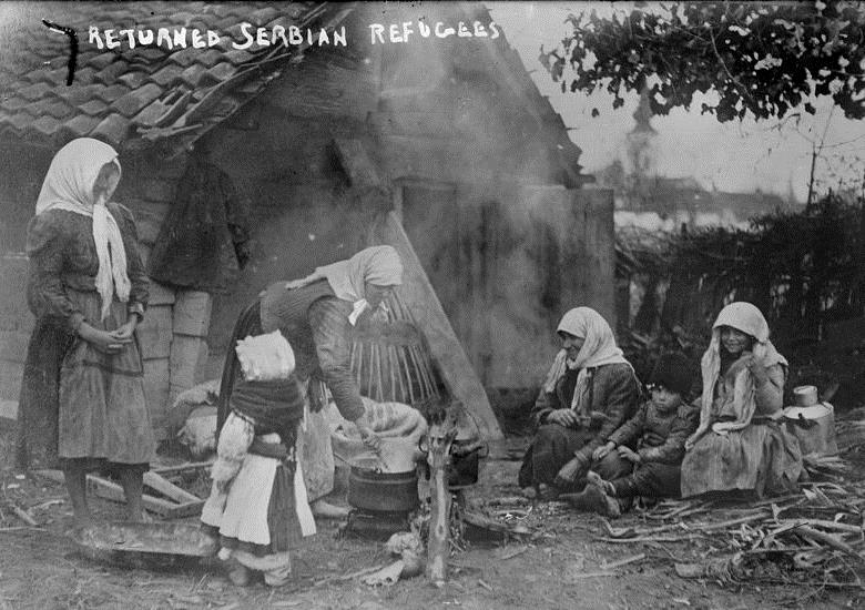 Serb refugees returning home later in the war. Displacement created substandard living conditions