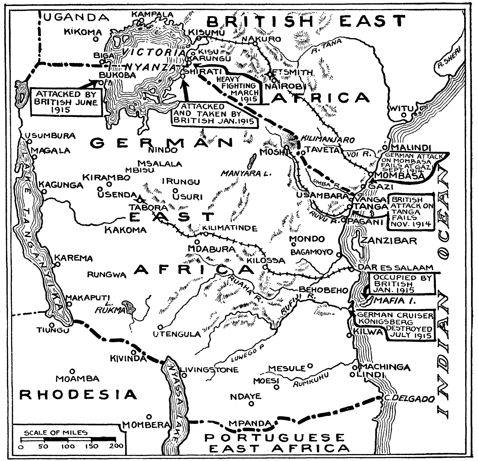 Map of the East India campaign to August 1915