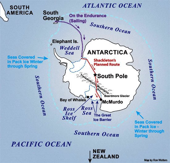 A map of Shackleton's intended route across Antarctica
