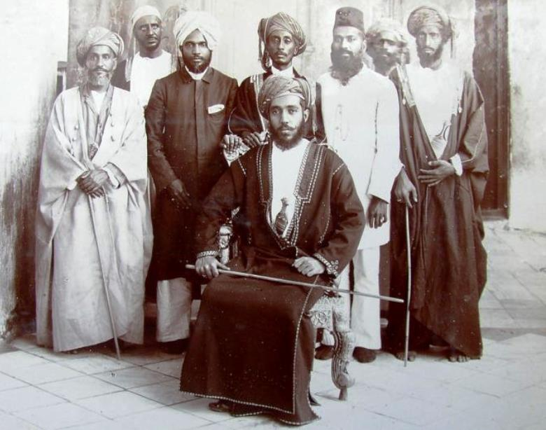 Sultan Taimur and members of his court after his ascension to the Sultanate in 1913