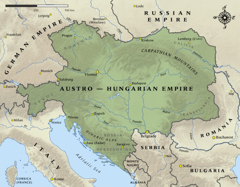 A map of the Austro-Hungarian Empire bordering on eight countries, five of which wanted a piece of it