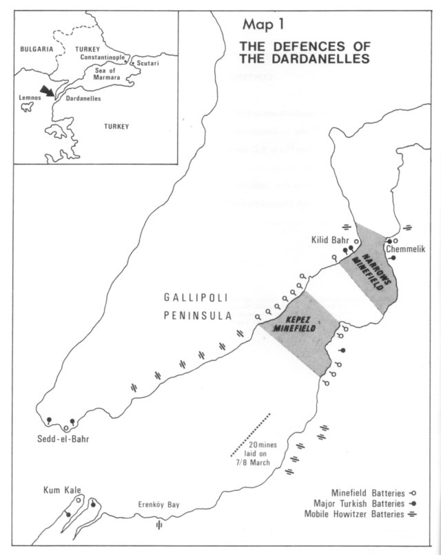 An operations map of the naval campaign for the Dardanelles. Via the South African Military History Society