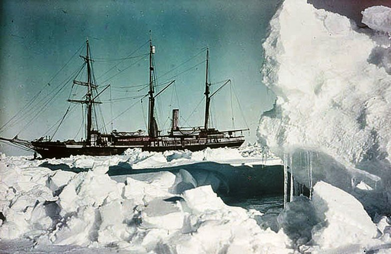 The Endurance trapped in ice. Shackleton and his men were forced to ride out the Antarctic Winter on board