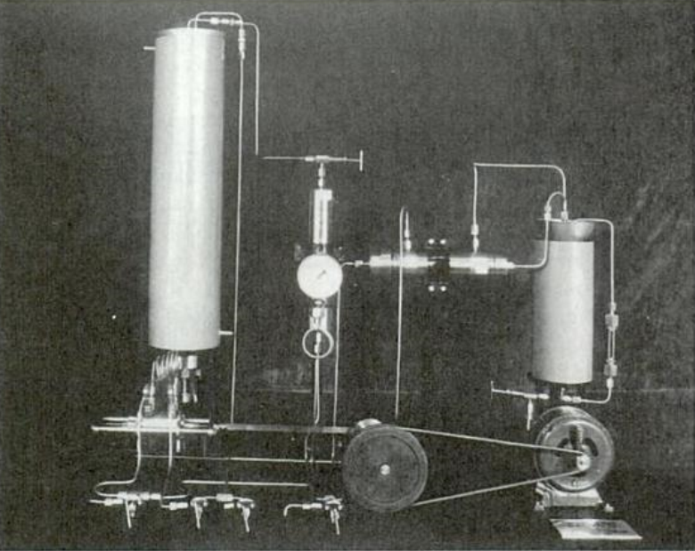 The Haber-Bosch process apparatus used pressure to split and fix nitrogen molecules from the air