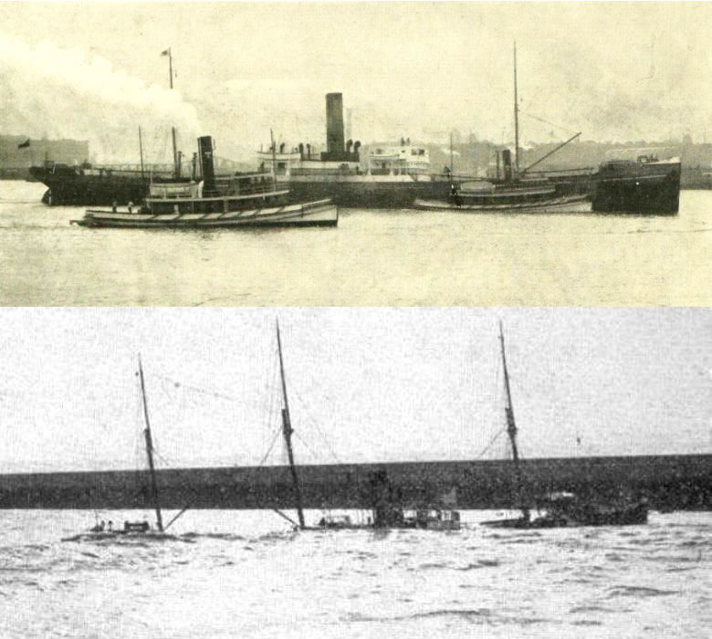 Top: the Ikaria being towed into Le Havre. Bottom: the Ikaria abandoned near the breakwater