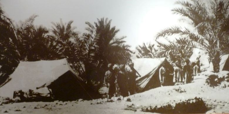 Indian troops pose at a British army camp in Muscat, 1914