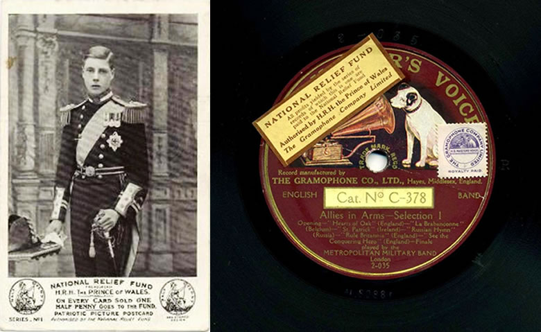 Left: a fundraising postcard featuring the Prince of Wales. Right: a fundraising record