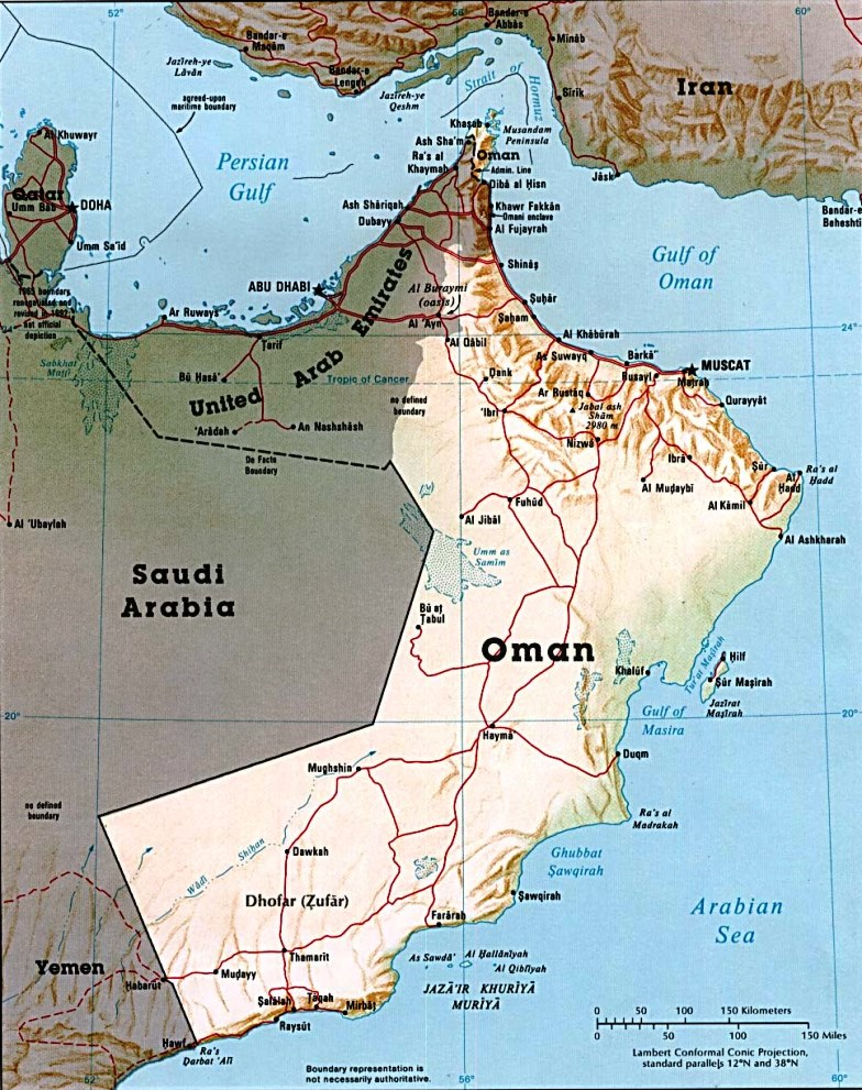 A map of Oman in the present day shows its strategic importance to British interests in the region