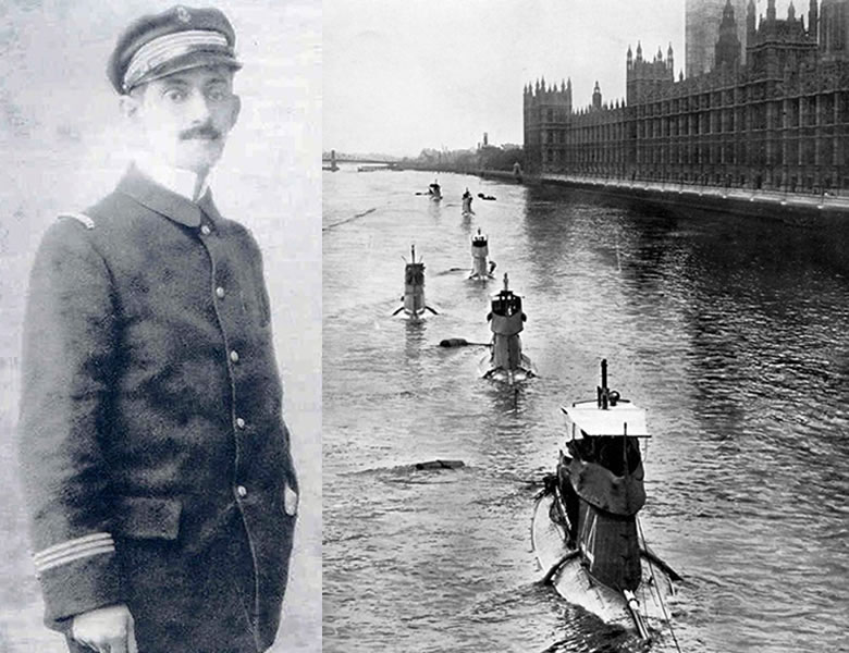 Left: Lt. Cdr. Fournier. Right: the Saphir and her sister ships sailing past Westminster in 1909