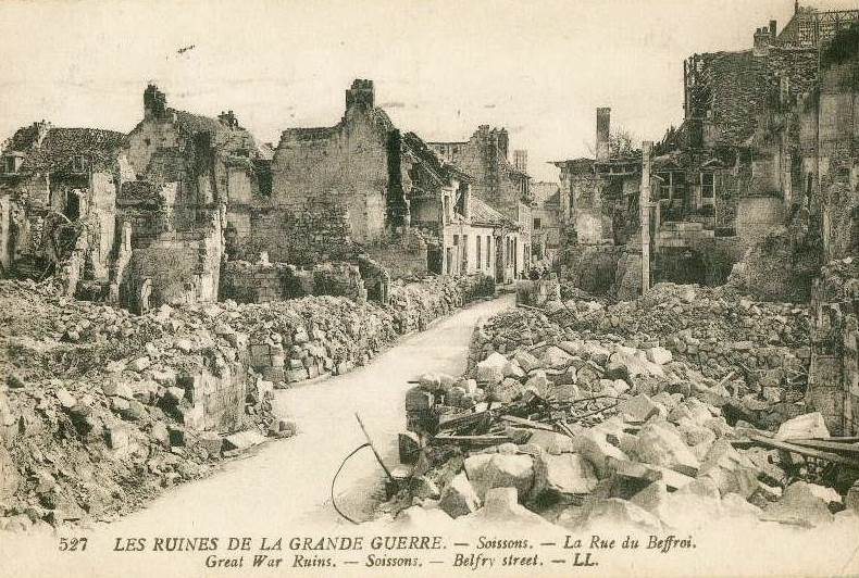 A postcard photo of the devastation in Soissons