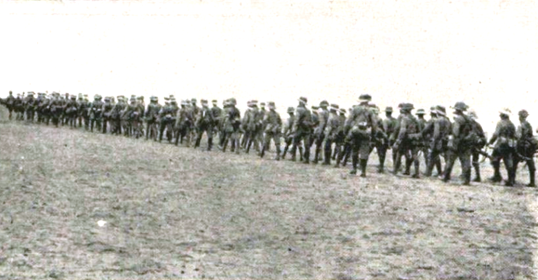 South African troops marching towards Swakopmund