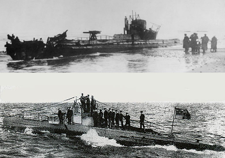 Top: U-20 scuttled on a Danish beach in 1920. Bottom: U-20 at sea.