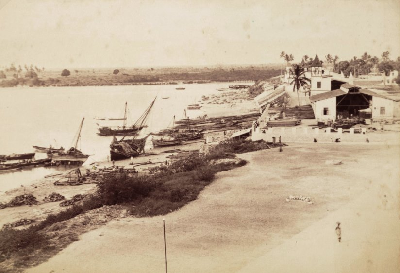 An 1896 photo of the Kaiser St. Harbor at Dar Es Salaam