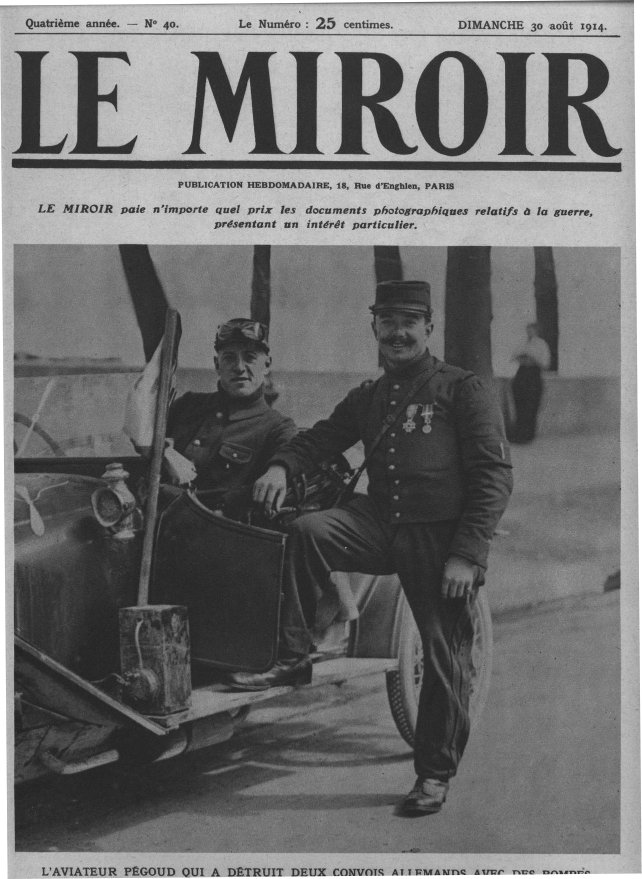 Pégoud with his gunner on the cover of a magazine