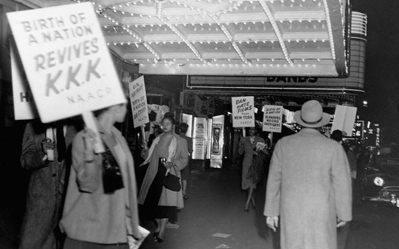 The NAACP protesting Griffith's movie in New York