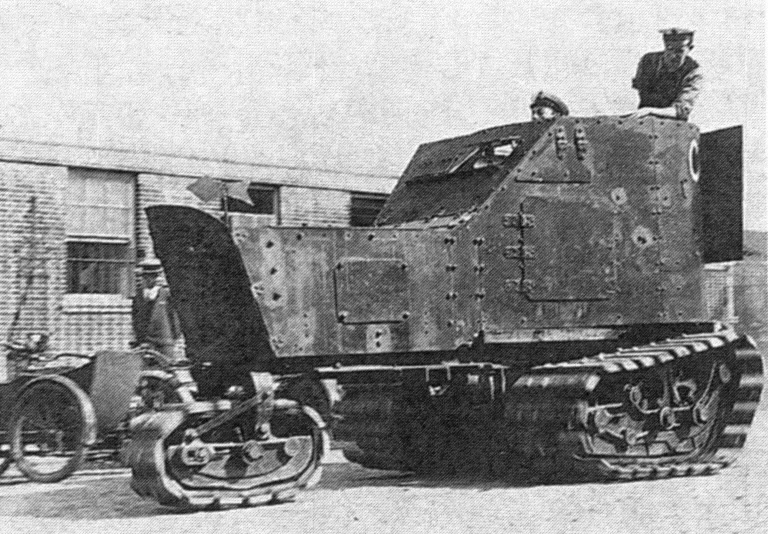 The Killen Strait tractor with a Delaunay-Belleville armored car mounted on top