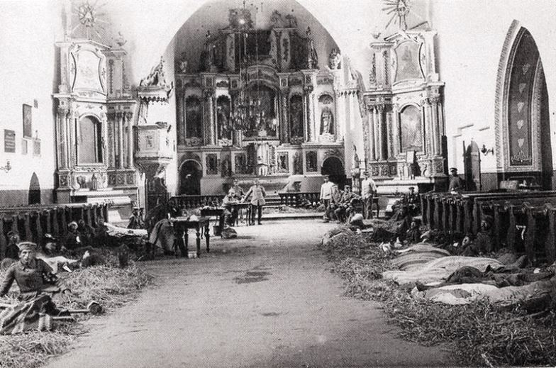 German troops billeted in the Ascension Church of Przasnysz