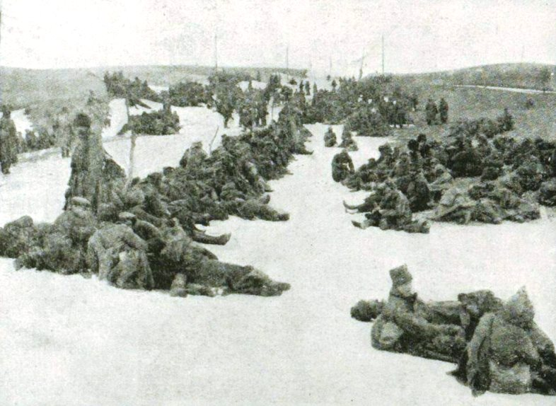 Russian prisoners resting on the march to their new camp homes