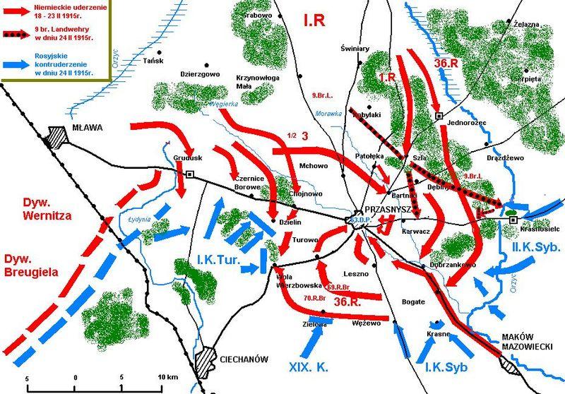 A map of the battle of Przasnysz