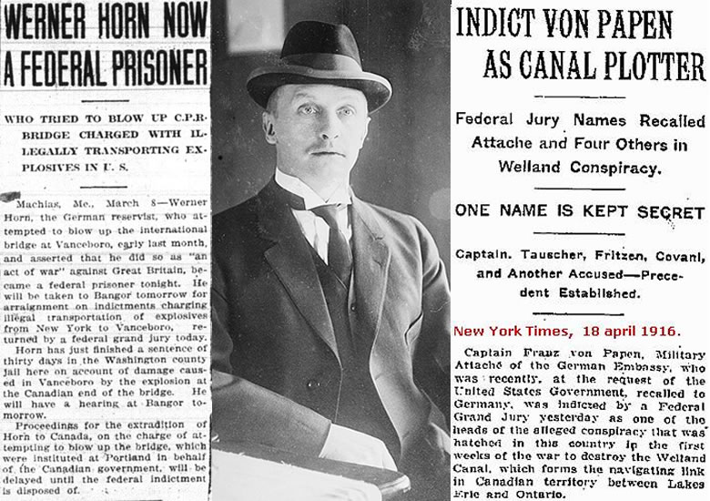 Center: Werner Horn. Left and Right: contemporary news coverage of his trial and Pappen's indictment