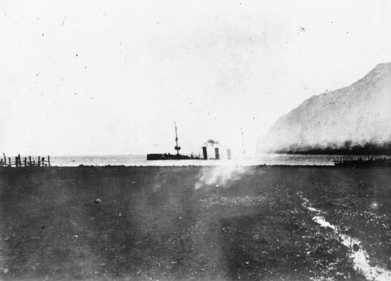 The Dresden sinking after being scuttled by her crew