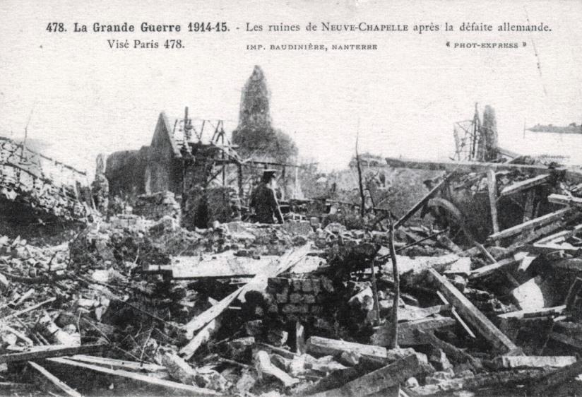 Neuve-Chapelle ruines apres defaite allemande 1915