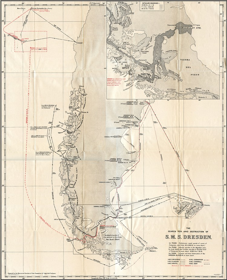 A map of the Royal Navy's search for the Dresden. Click here to see the full image at Naval-History.net