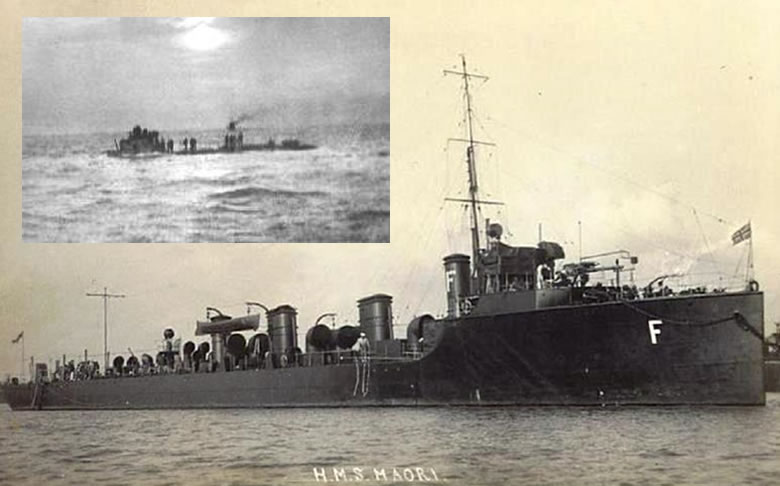 The HMS Maori. Inset: the U8 photographed during the capture of her crew