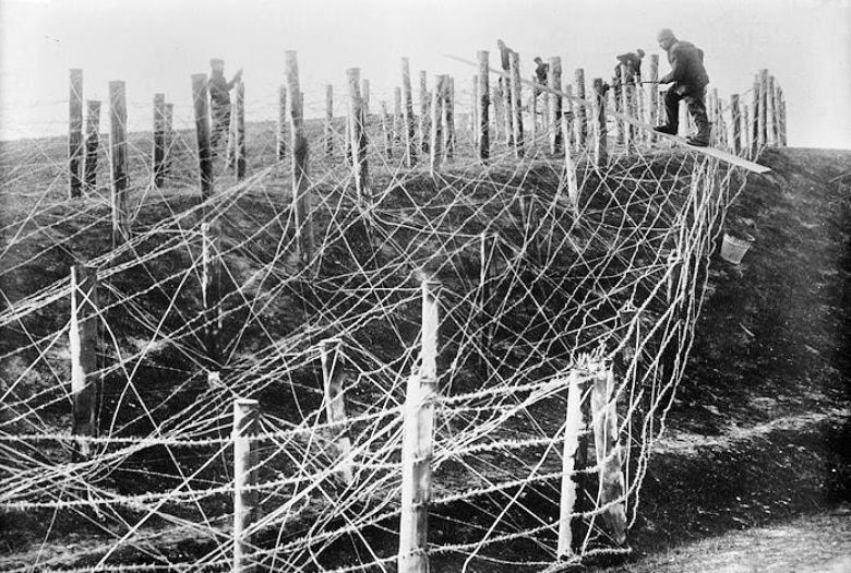 Image result for early  barbed wire field in combat