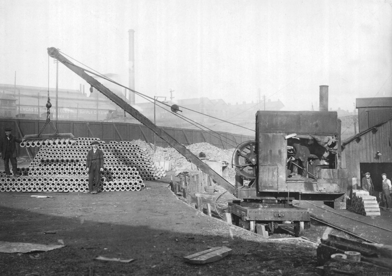 6″ Shell bodies being stacked outside the shell forge in Neptune Engine Works.