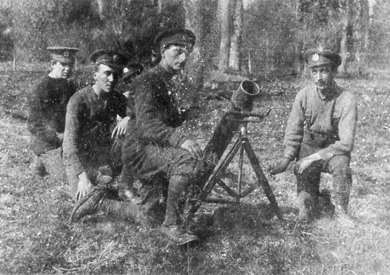 "A British 4"" Stokes mortar team."