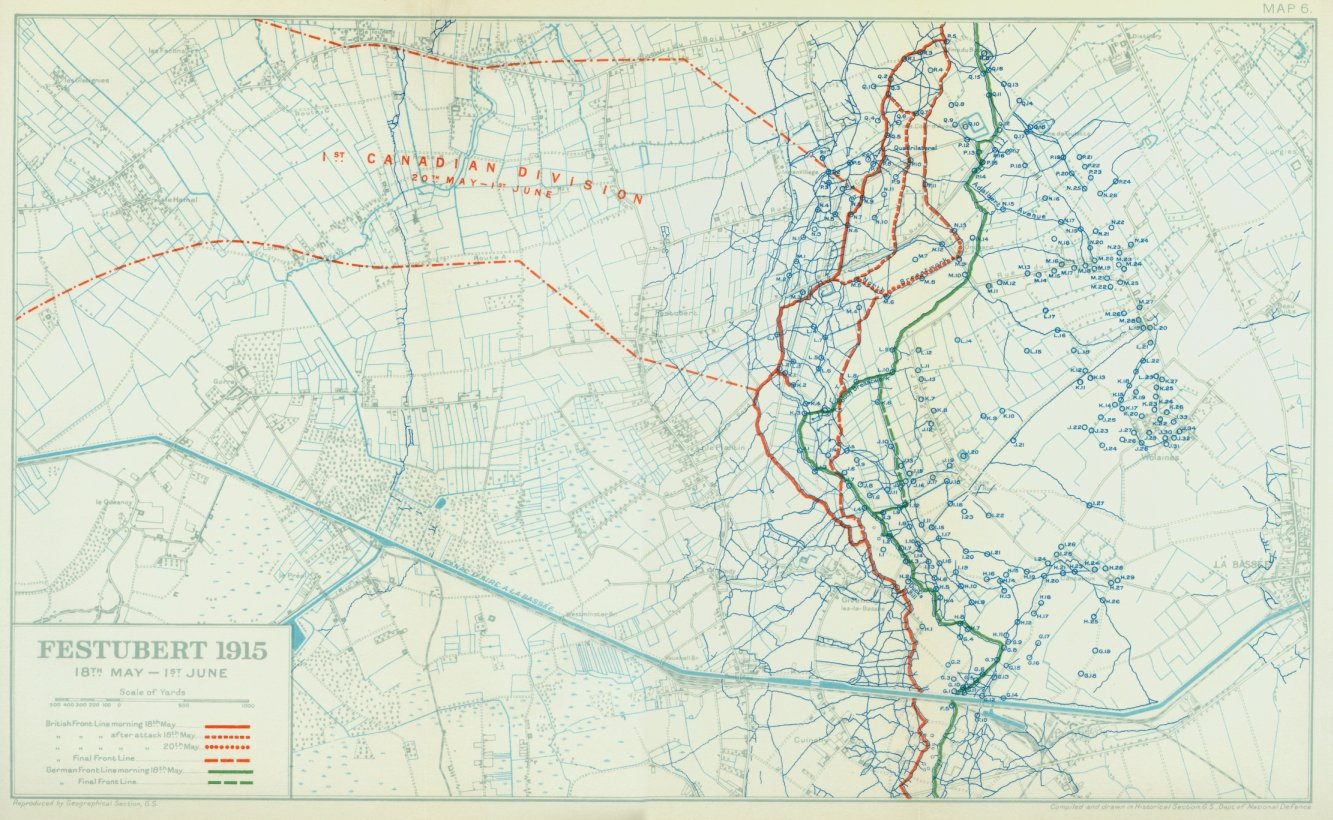 A Canadian map of the Festubert operation. Note the tangle of defensive saps and communication trenches