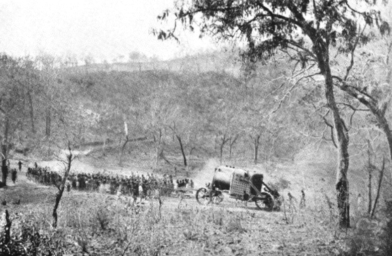 The 11-ton boiler of the Chauncy Maples being hauled overland by 450 Ngoni tribesmen