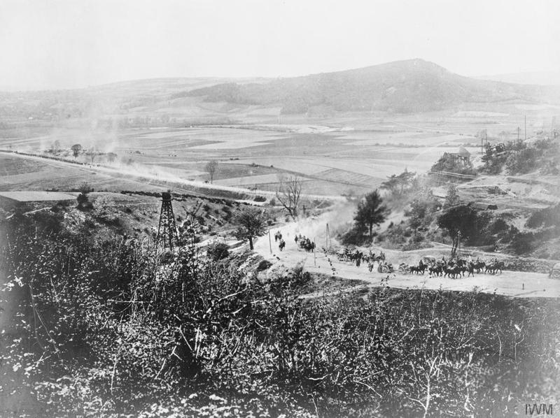 German troops pursue retreating Russian forces on a west Galician road