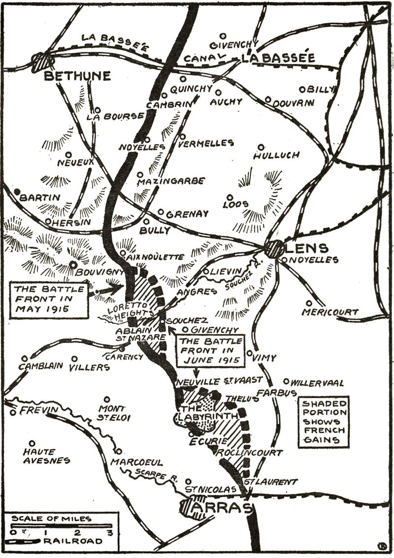 A map showing French gains in the Artois sector during May-June 1915