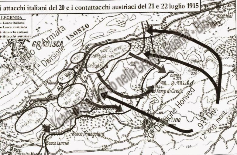 Monte san michele attacchi 21 22 luglio 1915