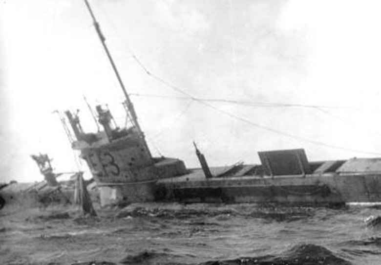 The E-13 was later refloated, but determined to be unsalvageable. These are still primitive, fragile craft