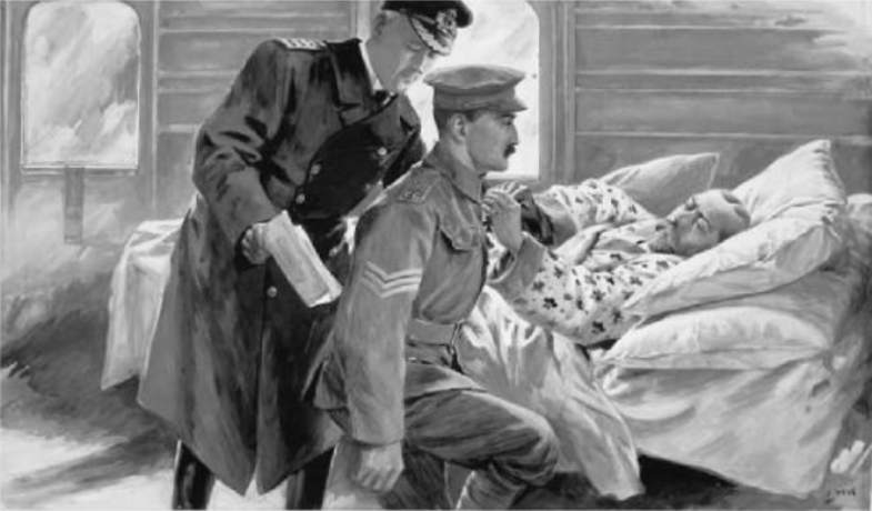 Lance-Sergeant Oliver Brooks kneels to receive the Victoria Cross for leading a grenade attack by the Coldstream Guards