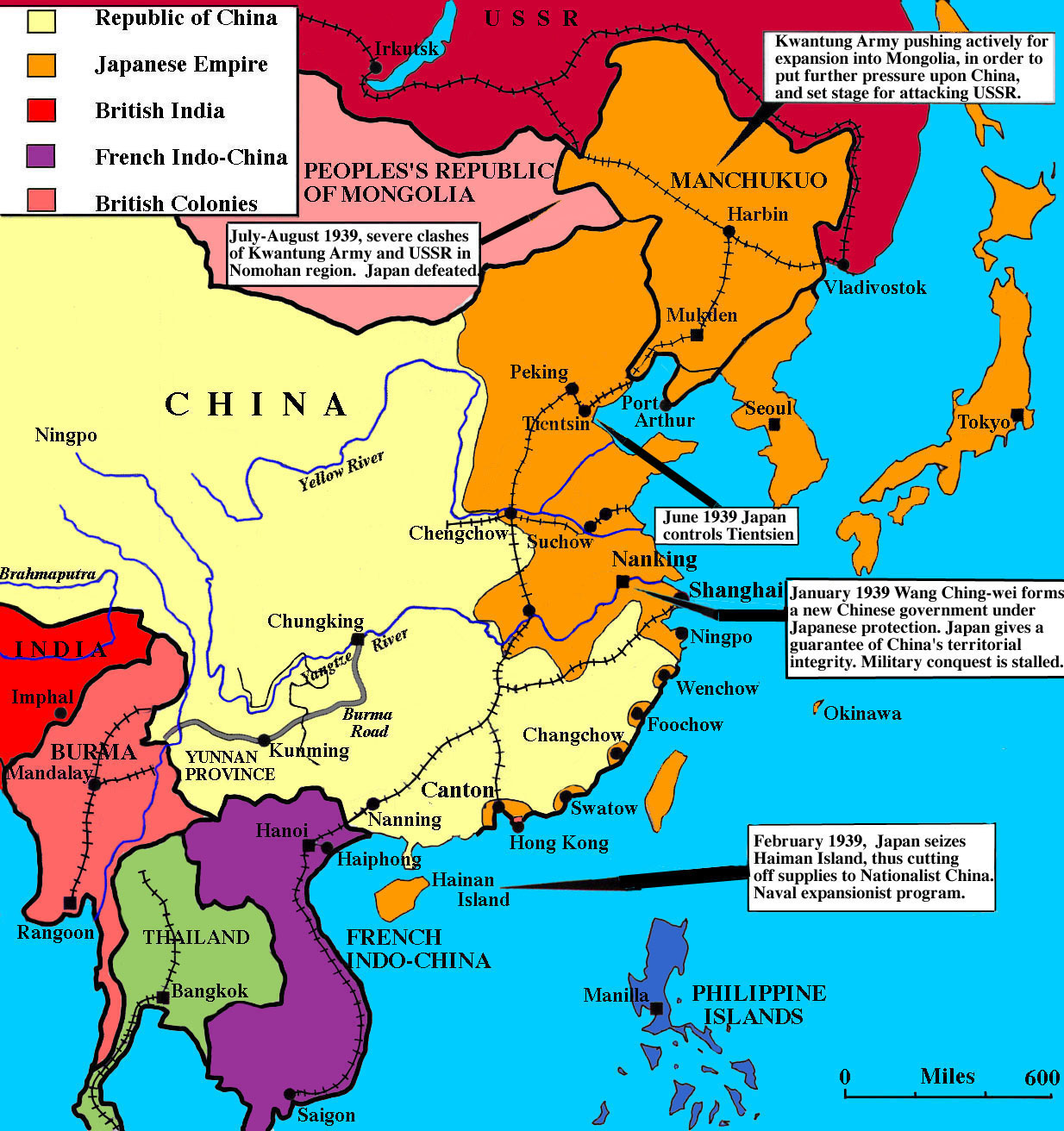 A map of China under Japanese domination at the beginning of World War II