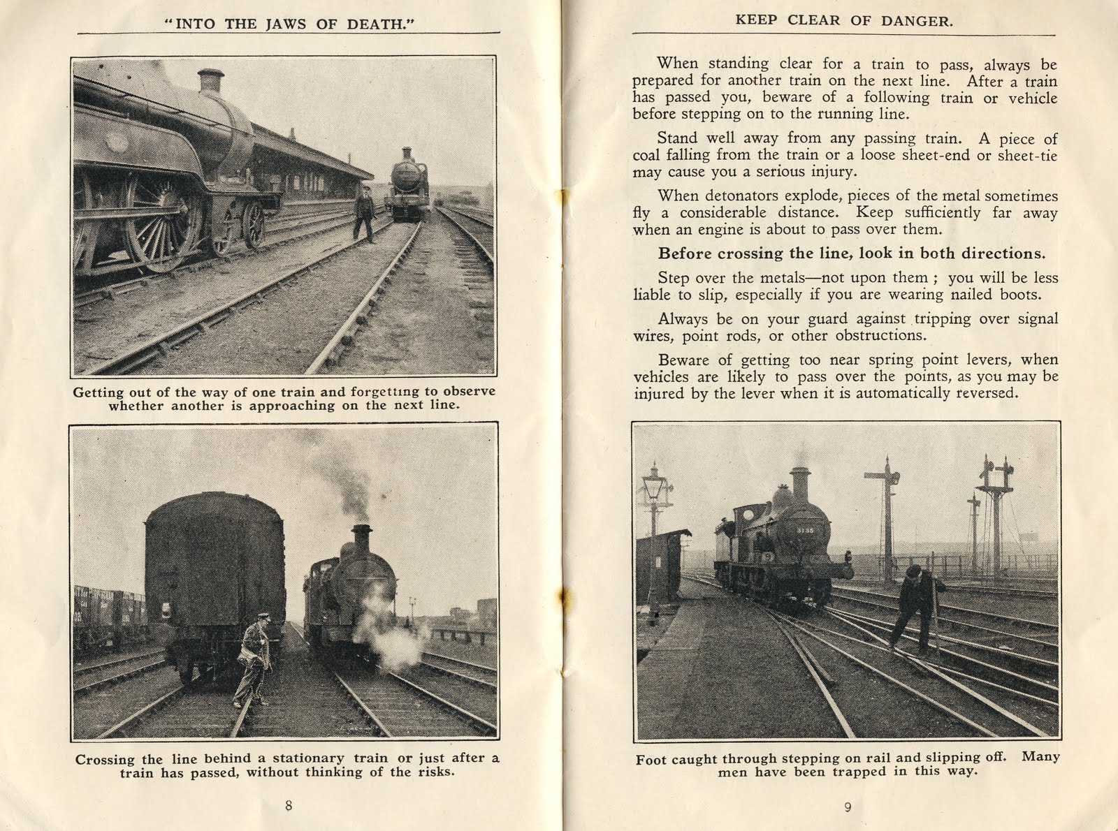 A two-page safety message inside a 1913 issue of Great Western Railway Magazine