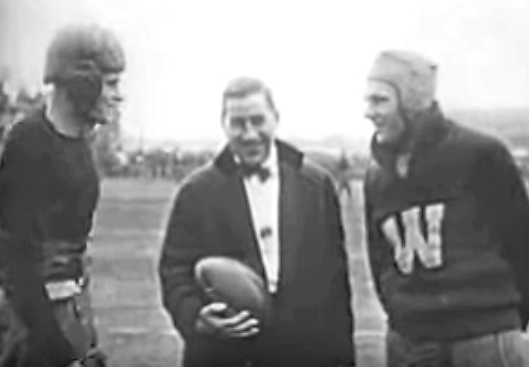 Team captains Andrews of Brown University (L) and Clark of Washington State, together with referee Walter H. Eckersall