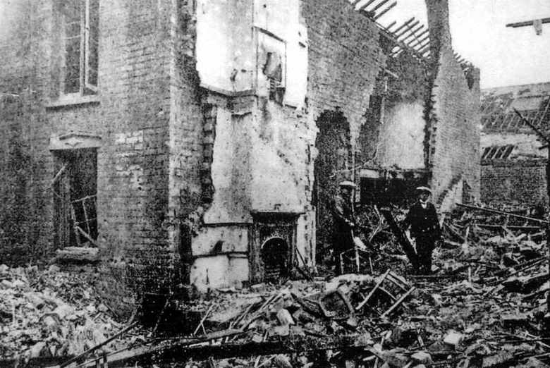 Bomb damage in Tipton. Air raids were seen as an atrocity