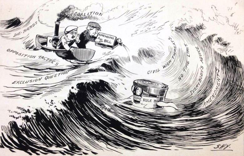 A prewar cartoon in Irish Life shows Lloyd George encouraging the Home Rule bill whilst PM Asquith adds to the roiling waters