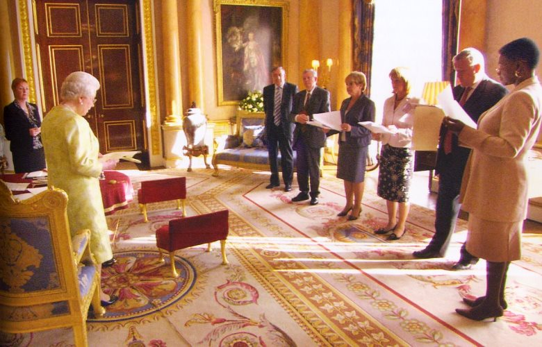 Queen Elizabeth holds a meeting with appointees to her Privy Council
