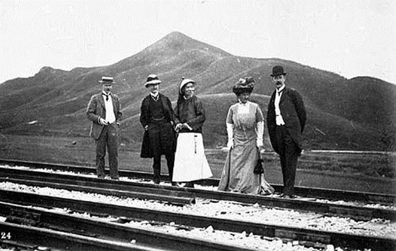 Governor, Sir Henry May, and his wife inspect the tracks of the British Section at Lo Wu, Kowloon–Canton Railway