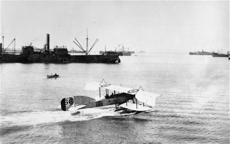 A Short seaplane of the Royal Naval Air Service lands at Salonika harbour in 1916
