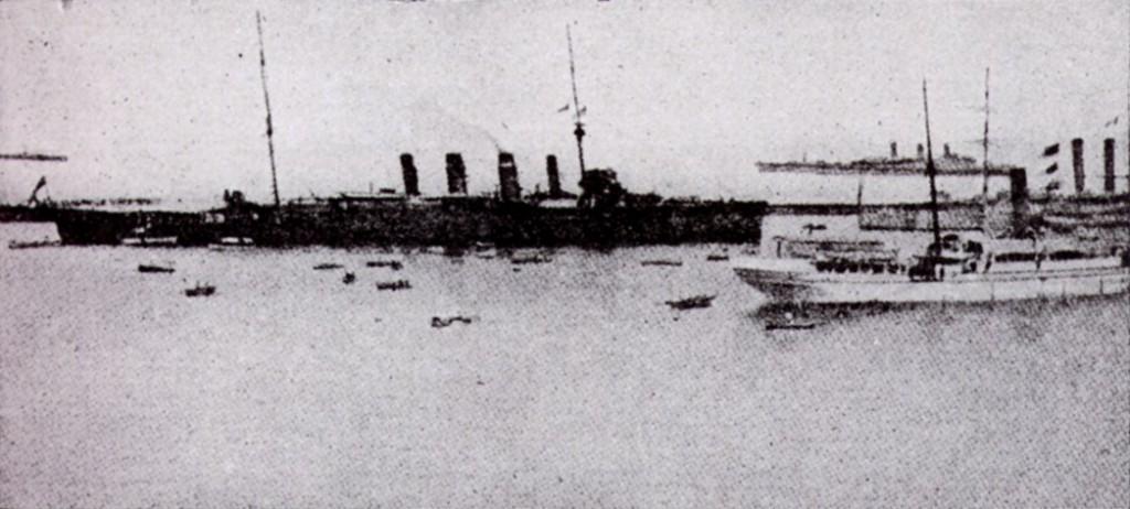 The Australian cruiser 'Sydney' that sank the German cruiser 'Emden'