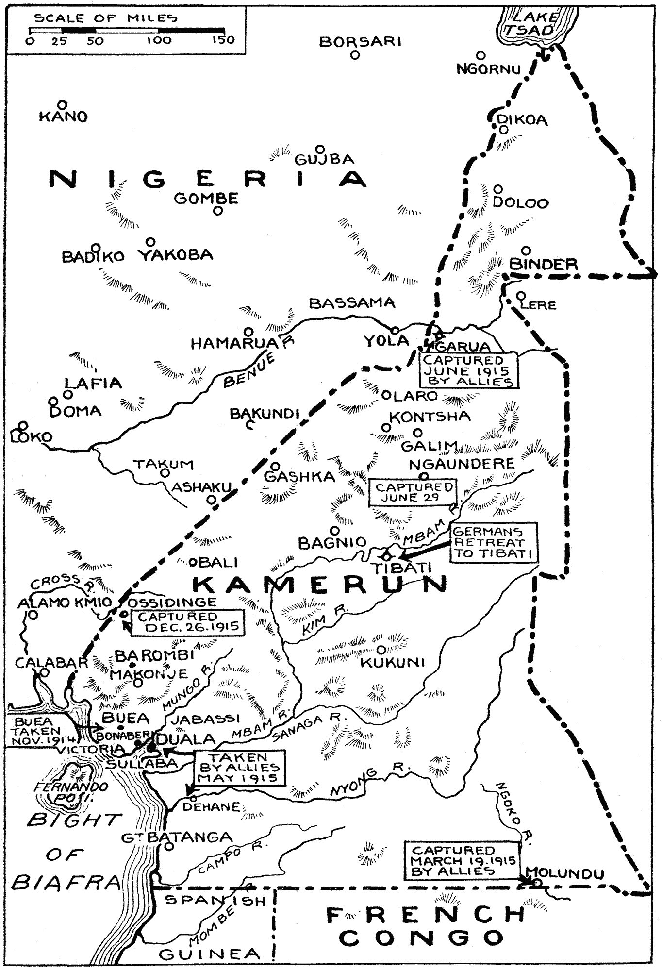 A map of the Kamerun campaign published by the New York Times in 1915