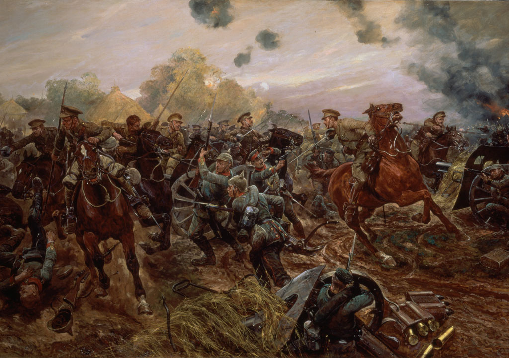 A highly-fanciful painting of the action at Audregnies, where