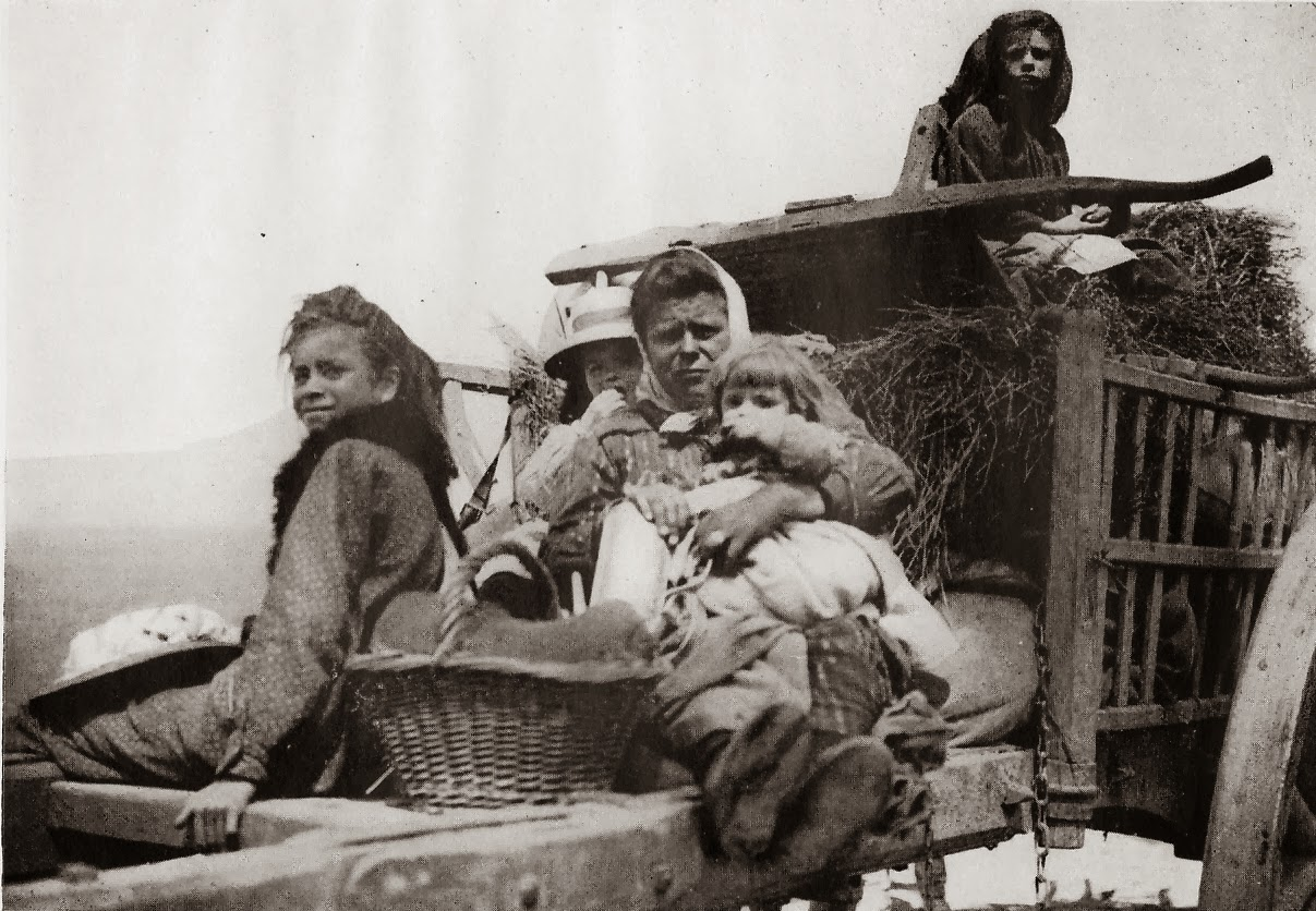 Belgian refugees were soon followed by French evacuating before the German 'gray wave'